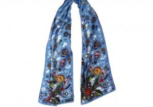 Écharpe Bouquet Astral Bleu nouée