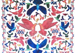 Carré Oiseaux multicolore à plat