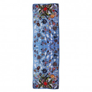 Étole Bouquet Astral Bleu à plat