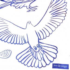 Étole Oiseaux B&B close-up