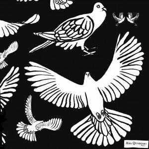 Étole Oiseaux N&B close-up