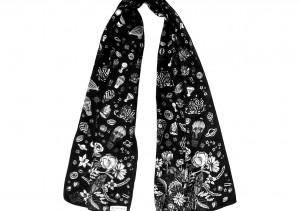 Écharpe Bouquet astral N&B noué